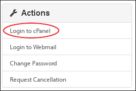 Customer Portal - My Services - Actions - Login to cPanel
