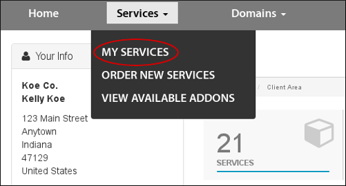 Select My Services from the Services menu.