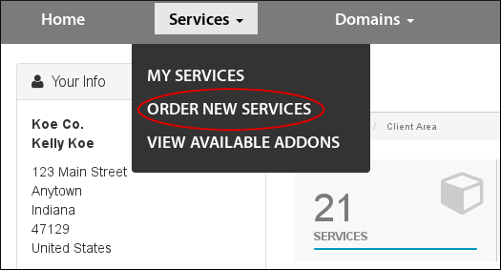 Customer Portal - Services - Order new services